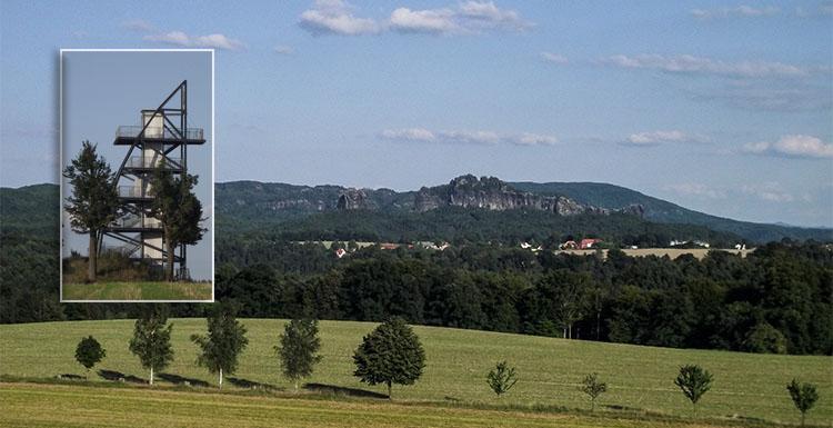 Der Aussichtsturm und der Blick zum Schrammsteinmassiv mit dem Falkenstein.